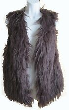 Black Brown Gray Off White Faux Long Hair Fur Vest One size fits most