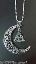 Celtic Moon Trinity Knot Triquetra Pendant on a Silver Plated Ball Necklace  i1