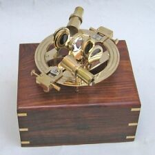 "8"" BRASS SEXTANT ROUND IN WOODEN BOX ~ NAUTICAL ~ MARITIME DECOR ~ PIRATE ~"