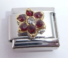 DARK RED GEM FLOWER Italian Charm January Birthstone fits Classic Bracelets 9mm