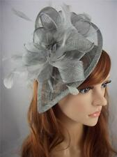 Silver Grey Teardrop Sinamay & Feathers Hat Fascinator  - Occasion Wedding Races