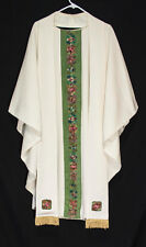 White & Green Embroidered CHASUBLE & STOLE Church Clergy Pastor Priest Vestments
