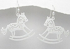 5.48g Solid Sterling Silver Shiny Rocking Horse Dangle Earrings 38mm PRETTY