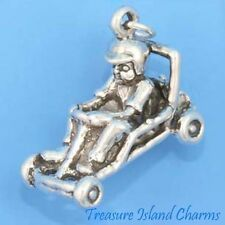 BOY CHILD IN GO KART RACE CAR KARTING HEAVY 3D .925 Solid Sterling Silver Charm