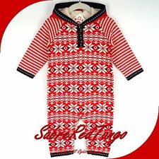 NWT HANNA ANDERSSON LET IT SNÖ SNOW SWEDISH HOODIE ROMPER APPLE RED 70 5-12 M