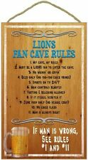 DETROIT LIONS FAN Man Cave Fan Rules Wood Sign / Plaque - FREE U.S. Ship NEW