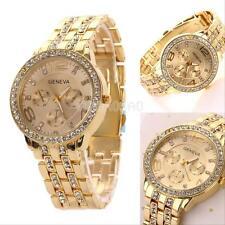Fashion Men Women Geneva Bling Stainless Steel Crystal Quartz Wrist Watch Golden