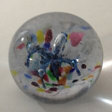 Vintage Large Floral Paperweight Art Glass