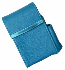 Blue CIGARETTE Hard Case pouch Leather Flip Top Lighter Holder Men Women