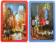 PAIR SWAP CARDS. 'CITY LIGHTS' IMPRESSIONIST PAINTING CAFE CULTURE AT NIGHT.MINT