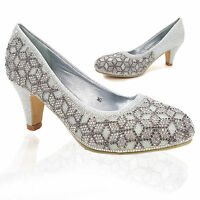 LADIES MID HEEL GLITTERY DIAMANTE BRIDAL WEDDING PARTY SHOES,GOLD SILVER 3-8 M2