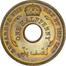 1936 British West Africa 1/2 Penny NGC MS65* STAR! Monster Rainbow Toned G002