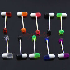 Assorted Lot 10 MIXED UV PILL Tongue Ring Barbells Body Stud Piercing JW249