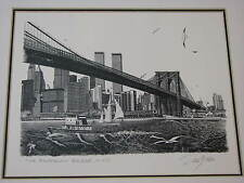 Delbart Duchein Art Signed NEW YORK City Brooklyn Bridge Twin Towers Skyline NYC
