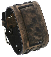Nemesis DXB-K Criss Cross Pattern Wide Brown Leather Cuff Wrist Watch Band