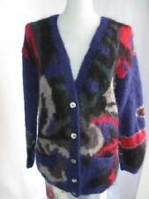 80's Vtg Furry Mohair Multi Color Slouch Mod Cardigan Sweater Nordstrom Large