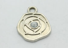 Sterling Silver .925 Small Ornate Rose Maze Cubic Zirconia Charm 1.8g E384