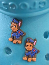 2 Chase Paw Patrol Shoe Charms For Crocs & Jibbitz Wristbands. Free UK P&P.