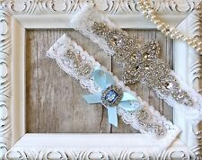 Garter w/ Toss-Wedding garter-Vintage Garter Set-Something Blue-Crystal Garter