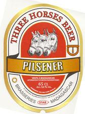 Etiqueta de cerveza Madagascar - Beer label Madagascar - Three Horses Pilsener