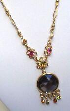 collier chaîne couleur or finement travaillé cristaux péridot bijou vintage 16
