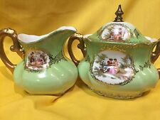 ANTIQUE VINTAGE PAULY & CO. VENEZIA SUGAR & CREAMER SET