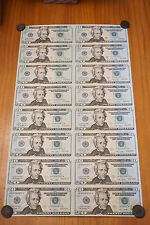 16 UNCUT SHEET $20 $20x16 USA $20 DOLLAR BILLS Rare Real Currency Notes