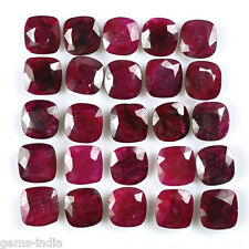 CUSHION FACETED CUT AFRICAN RED RUBY LOT 11 MM CALIBRATED~200.00 CT / 25 PCS