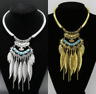 Women Fashion Leaf Choker Chunky Pendant Chain Bib Necklace Jewelry Accessories