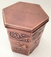 Hand Made Metal Pet Urn Dog Cat Memorial Casket Cremation Ashes Copper Finish