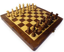 "QualityShopping Wooden Foldable Chess Board Box 10x10"" & Wooden carved Coins"