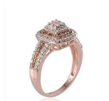 SALE! 1/2 Ct Champagne Princess Cut Diamond Ring, 14K RG & WG, SS SZ 9