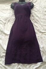 KEW (JIGSAW) Lovely Purple Silk Shift Dress  Embroidery Detail Size 14 UK