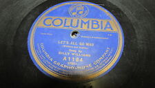 BILLY WILLIAMS COLUMBIA 78 RPM RECORD 1184 ETCHED SIGNATURE LABEL