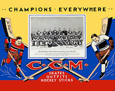 1933-34 Detroit Red Wings CCM Skates Advertising Sign - 8x10 Color Photo