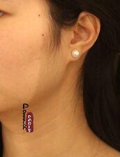 Boucles d`Oreilles Clous Perle de Culture Plate Argent 925 Blanche 8mm-9mm