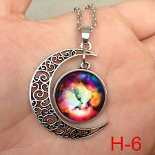 New arrival ! Colorful Galaxy Glass Hollow Moon Shape Pendant Tone Necklace j06