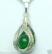 natural green Jade silver Pendant Necklace hot Sell