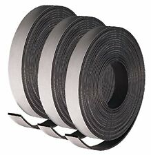 "3 Rolls of Adhesive Backed Flexible Strong Fridge Magnet Strip Tape 30"" x 1/2"""