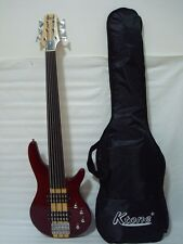 6 String Electric Bass Guitar, Fretless, Solid Wood Neck Through Body /w Gig Bag