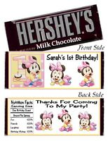 12 Baby Minnie Mouse 1st Birthday Party or Baby Shower Candy Hershey Bar Wrapper