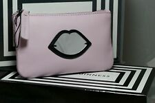 Genuine Lulu Guinness Pastel Pink Soft Leather Perspex Mirror Lips Purse RRP £85