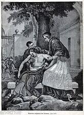 MEDICINA: FENELON CURA I FERITI. Religioso,Teologo,Scrittore. Stampa Antica.1882