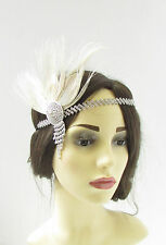 Ivory Cream Silver Feather Headdress Headband 1920s Flapper Great Gatsby Vtg 330