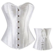 Sexy Satin Overbust Waist Training Lace Up Bustier Top Corset Shapewear Shaper