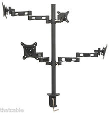 "13-27"" Quad/4x Monitor Desk Stand -LCD TV Screen-Multiple Display Bracket Mount"
