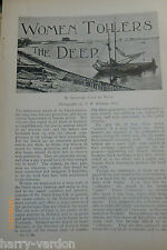Women Oyster Farming Goes Zealand Holland Netherlands Old Antique Article 1899