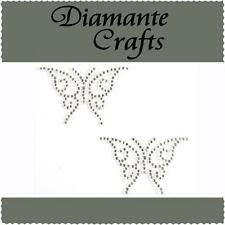 2 x 41mm Clear Diamante Butterflies Rhinestone Craft Embellishment Self Adhesive