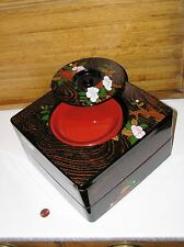 vintage Japanese lacquer ware jubako 2 tier food serving box + 5 snack plates