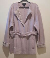 Cynthia Rowley Women Coat Size 3X Cream Color Crochet Details Pre-owned